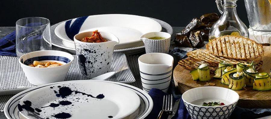 5 x Blauw-Wit serviesgoed