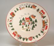 Wedgwood Christmas Village Gebak -taartschaal rond 31 cm (made in England)