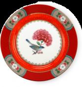 Pip Studio Blushing Birds Gebaksbord 17 cm - rood