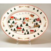 Wedgwood Christmas Village Serveerschaal ovaal 40 cm (made in England)