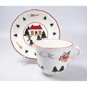 Wedgwood Christmas Village Ontbijtkop 0.4 ltr en schotel ( Made in England )
