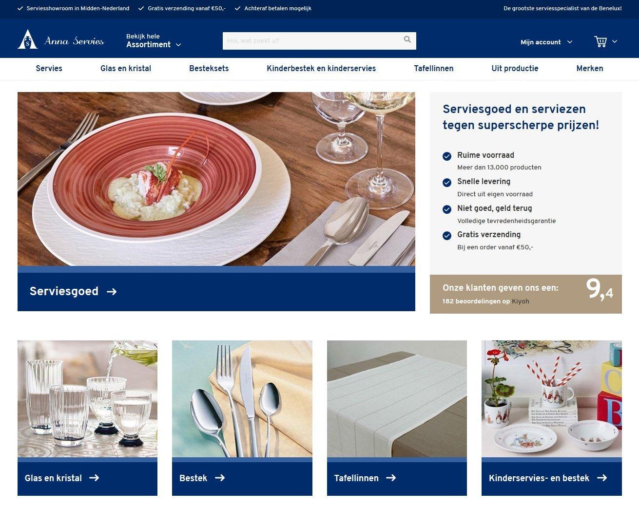 Nieuw design www.annaservies.nl live